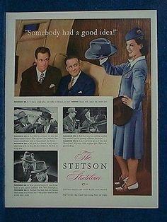 1942-Sharply-Dressed-TWA-Hostess-Stewardess-Ad-For-Stetson-STRATOLINER-Hat