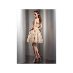 Champagne A Line Princess One Shoulder Short Mini Tulle Homecoming... (€125) ❤ liked on Polyvore featuring dresses, tulle cocktail dresses, a line mini skirt, a line dress, champagne cocktail dress and flower dress