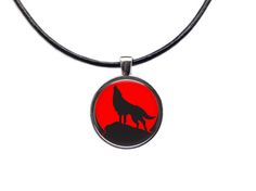 Wolf chain Animal jewelry Moon pendant by blacknwhitenecklace