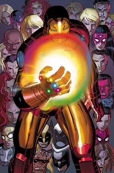 Avengers Iron Man with the Infinity Gauntlet by Gabriel Hardman Marvel Comics Poster - 61 x 91 cm All Marvel Heroes, First Marvel Comic, Marvel Comic Character, Marvel Comic Books, Marvel Dc Comics, Comic Books Art, Comic Art, New Iron Man, Iron Man Movie