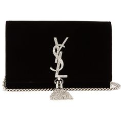 Saint Laurent Kate small velvet cross-body bag (€1.345) ❤ liked on Polyvore featuring bags, handbags, shoulder bags, bolsos, clutches, torbe, black, purse shoulder bag, handbag purse and clear crossbody purse