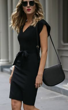 Click for outfit details! Classic black sheath dress + ankle strap black pumps {Eliza J, Sam Edelman, affordable workwear, under $100, office style, wear to work, Nordstrom Anniversary Sale 2017}