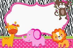 The Jungle for Girls: Free Printable Invitations. Festa Safari Baby, Safari Party, Safari Invitations, Digital Invitations, Printable Invitations, Invites, Ivana, School Frame, Baby Shawer