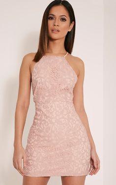 15840dd1dd48 Elora Baby Pink Cross Back Lace Mini Dress Nude Short Dresses
