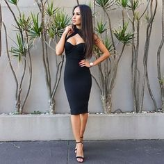 Free Shipping New Arrivals 2016 Slim Sexy Women Black Bandage Dress Party  Bodycon Dresses - Costbuys db23830b8