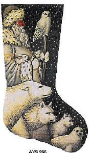 arctic santa needlepoint christmas stocking 340 tapestry tent this arctic santa is a hand painted needlepoint