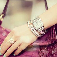 slim stacking with & Yurman Tiffany Sale, Michelle Watches, Women Accessories, Fashion Accessories, Layered Jewelry, Bold Jewelry, Wendy's Lookbook, Diva Fashion, Pandora Jewelry
