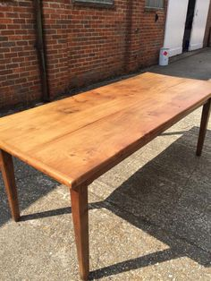 Incroyable Antique French Farmhouse Table. Beautiful Elm Thick Top With Tapered Legs.  This Table Also