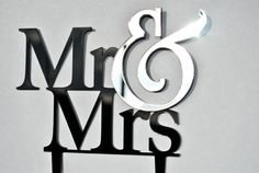 Wedding Cake Topper - Mr and Mrs Cake with Mirrored Ampersand enhancement Topper by Chicago Factory