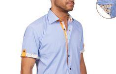 INSPIRATION - placket and cuff details - Chemisette homme à carreaux doublure orange et multicolore, Chemisettes - Chemise Homme