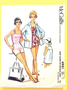 McCall's 4941 Misses' Bathing Suit and Cover-Up Swimsuit Bust 36 Vintage Sewing Pattern Vintage Dress Patterns, Vintage Dresses, One Piece Dress, Bathing Suits, 1950s, Cover, Swimsuits, Suit Pattern, Pattern Sewing