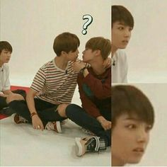 Jungkookie baby is so confused and shook looking at baby boo Jimin and eomma Jin ;D