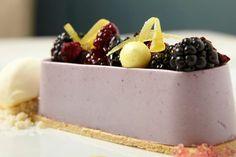 Blackberry bavarois, cornmeal black pepper sable, lemon crème, sweet buttermilk ice cream from Sixteen #Restaurant #Chicago #dessert