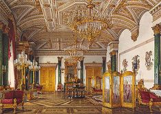 The Malachite Room, Winter Palace, seat of the Provisional Government, who were arrested in the adjoining Private Dining Room