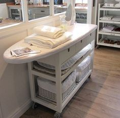 Ironing Board How many thumbs up to this? Ironing Board How to make an Ironing Board Cover Sewing Room Cabinet Ideas DIY Ironing Station This clever IKEA Sewing Rooms, Laundry Mud Room, Room Organization, Ironing Station, Laundry Room Design, Sewing Room, Home Diy, Ikea Kitchen Island, Ikea Kitchen