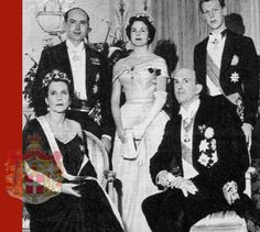 In February 1955, it was announced that HRH Princess Maria Pia of Italy, eldest daughter of the exiled Italian royal couple, was to marry HRH Prince Alexander of Yugoslavia, son of Prince Regent Paul and Princess Paul, born Princess Olga of Greece and Denmark.  Official photograph of King Umberto and Queen Maria José, the Prince of Naples, Princess Maria Pia and Prince Alexander of Yugoslavia at reception held by the King and Queen of Italy at the Palace Hotel of Estoril for 2500 guests,