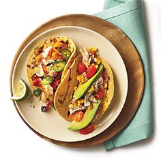 Sautéed Tilapia Tacos with Grilled Peppers and Onion | MyRecipes.com