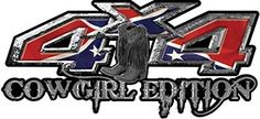 Rebel Confederate Flag Battle Cowgirl Edition with Boots 4x4 ATV Truck or SUV Vehicle Decal / Sticker Kit
