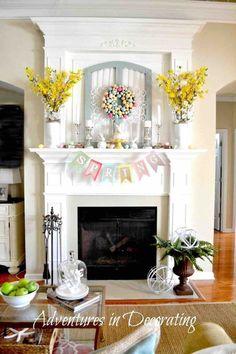 Easter decor ideas, Easter mantle decor, Mantle wreath, Mantle decor. Easter DIY decoration for your home. Easter crafts tutorial. Egg wreath tutorial. Frugal Easer decor. Easter home decor.
