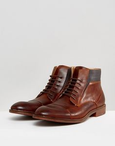 Steve Madden Quibb Leather Boots In Cognac