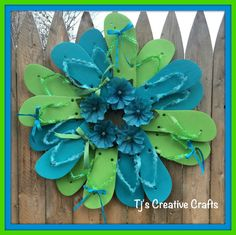 Flip Flop Wreath Blue and Green Flip Flop by TjsCreativeCrafts