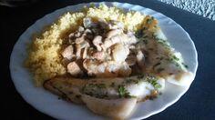 Merluza, couscous, champiñon y cebolla con salsa de humus