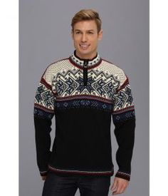 Dale of Norway Vail (C-Midnight Navy/Red Rose/Off White) Men's Sweater