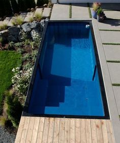 Shipping Container Swimming Pool: An Innovative Pool Design for Your Home - SP Home Design Swimming Pool Steps, Swimming Pool House, Best Swimming, Swimming Pool Designs, Home Design, Design Ideas, Shipping Container Swimming Pool, Hidden Pool, Square Pool