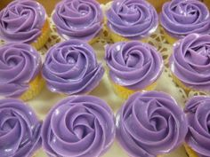 Purple Cupcakes with rose effect topping