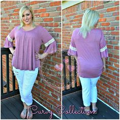 """Burgundy And Lace Bell Sleeve Top Soft and flowing top with center pleat and bell sleeves with lace trim.  1X-Large:  Length 30"""", Bust 46"""" 2X-Large:  Length 30"""", Bust 48"""" 3X-Large:  Length 31"""", Bust 50""""  *Color is a shade darker than it appears in the outdoor picture. 95% Rayon, 5% Spandex Tops Blouses"""