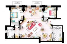 The apartment of Ted mosby from the show HOW I MET YOUR MOTHER. I have extended the walls with the doors to the bedrooms to fit these in the plan. Ted Mosby's apartment from HIMYM Ted Mosby, Film Home, Home Tv, How I Met Your Mother, Big Bang Theory, Dexter, Mejores Series Tv, Friends Apartment, Floor Plan Drawing