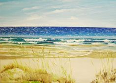 SOLD THANK YOU.  Day at the Beach Oil Painting on stretched canvas by MARVINSTUDIO, $120.00 This is an original painting created onto stretched canvas and painted in oils. If you love going to the beach or know someone who does, this painting will bring back happy memories. It is a serene view of waves, beach, and sea oats grass on a sunny day. The size of this canvas is 18 X 24 inches.
