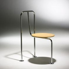 Shiro Kuramata / Three-legged chair < Important Design Session 11 December 2007 < Auctions Vintage Furniture Design, Metal Furniture, Cool Furniture, Industrial Dining Chairs, Metal Chairs, Leather Chairs, Spool Chair, Toddler Table And Chairs, Cafe Chairs And Tables