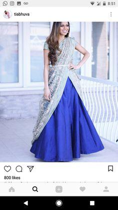 Whatsapp on 9496803123 to customise handwork and cutwork Ghagra Saree, Saree Dress, Half Saree Designs, Sari Blouse Designs, Saree Wearing Styles, Saree Styles, Indian Designer Outfits, Designer Dresses, Simple Sarees