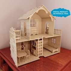 Big plywood Dollhouse v7 + Dolls furniture Pack. Cut plans for CNC users. Pattern vector for CNC router and laser cutting. Barbie size.