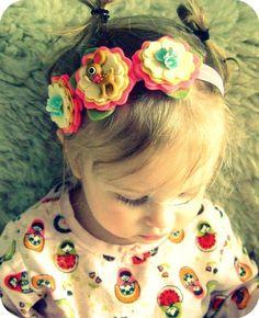 Felt Flower Headband Halo Petite Fawn Headband por giddyupandgrow
