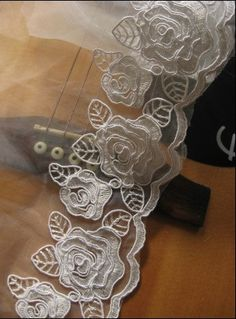 White Bridal Lace Trim with Retro Embroidered Roses for by LaceFun, $6.50