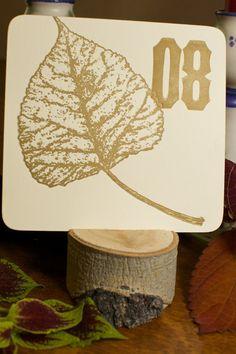 Letterpress Table Number & Aspen Stump Base by cabinpressstudio, $20.00