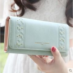 13942793a743 Hot sale new High quality PU leather wallets women fashion three fold  simple personality rivet long design wallet purse