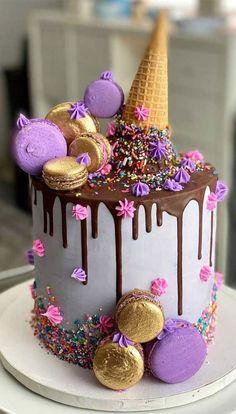Chocolate Birthday Cake Kids, Sweet 16 Birthday Cake, Pink Birthday Cakes, Sweet Sixteen Cakes, Sweet 16 Cakes, Chocolate Cake Designs, Cake In A Cone, Pretty Cakes, Beautiful Cakes