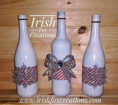 Winter Wine Bottles by Irish Fox Creations
