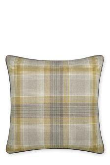 Large Ochre Cosy Check Cushion