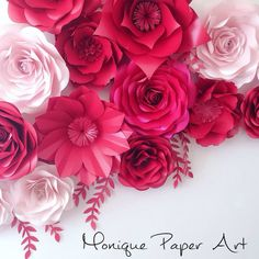 Luxury Paper Flowers - Shades of Pink Large Paper Flowers - Wedding Backdrop by . Paper Flower Backdrop Wedding, Flower Wall Wedding, Floral Wedding Decorations, Paper Backdrop, Paper Decorations, Wedding Flowers, Backdrop Decorations, Decor Wedding, Hanging Paper Flowers