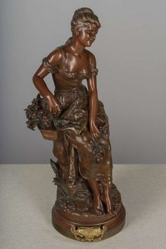 For Sale on - A late century French bronze sculpture by Hippolyte Francois Moreau – entitled 'Les Cerises' depicting a beautiful young girl holding French Sculptor, Bronze Sculpture, Decorative Objects, Statues, 19th Century, Sculptures, Beautiful, Women, Effigy