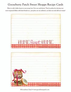 Free Gooseberry Patch Sweet Shoppe Recipe Cards