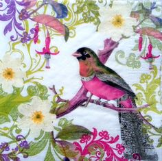 4 x Single Table Paper Napkins / Craft / Party / for Decoupage / BIRD ON BRANCH