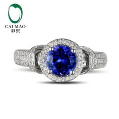 18KT/750 White Gold 1.71 ct Natural IF Blue Tanzanite AAA 0.56 ct Full Cut Diamond Engagement Gemstone Ring Jewelry