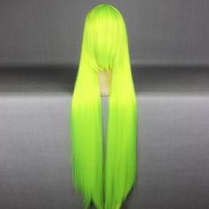Straight Bright Yellow Green Cosplay Wigs