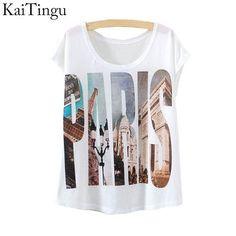 KaiTingu 2017 New Fashion Vintage Spring Summer T Shirt Women Tops Print T-shirt Paris Printed White Woman Clothes
