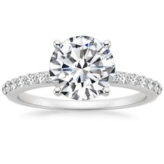 I'm in live with this one. So simple. So beautiful.  18K+White+Gold+Petite+Shared+Prong+Diamond+Ring+(1/4+ct.+tw.)+from+Brilliant+Earth